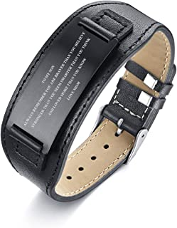 Stainless Steel Courage Quotes Inspirational to My Son Gift Love Mom Dad Mother Son Father Son Bracelet Genuine Leather Wristband