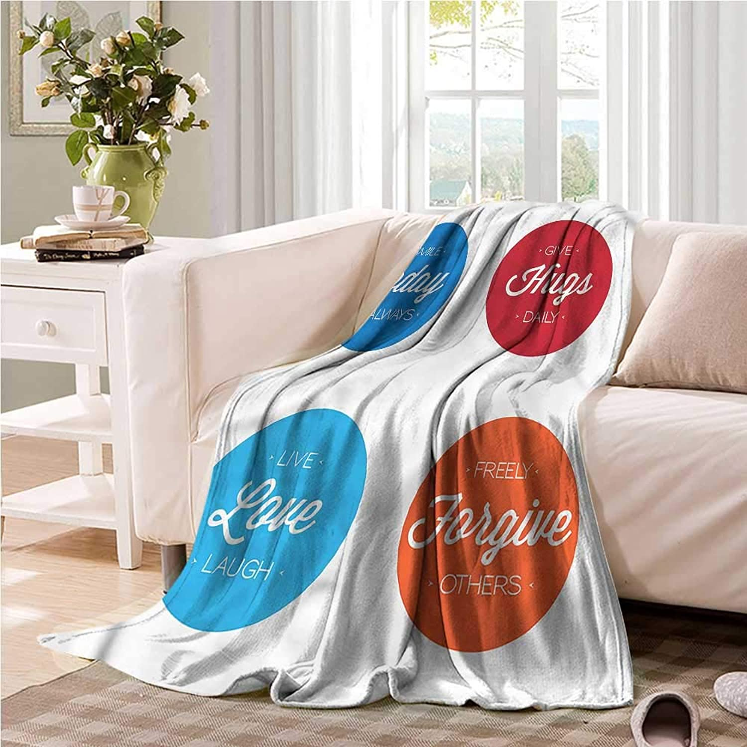 Oncegod Travel Blanket Quotes Positive Slogans on Life Camping Throw,Office wrap 60  W x 51  L