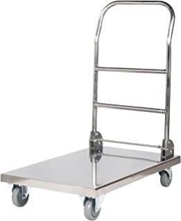 400 kg, Storage Surface 82 x 52 cm, Rubber Wheels Royal Catering RCFT-1.1/Platform Truck Folding Trolley Cart Stainless Steel