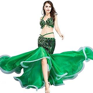 iixpin Bauchtanzkost/üm Damen 2tlg Set Pailletten Bauchtanz BH Oberteil mit Quaste G/ürtel H/üfttuch Latin Indian Belly Dance Rave Outfits