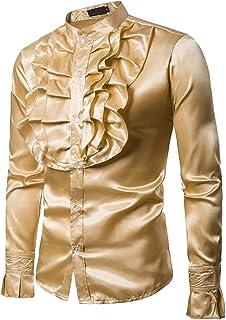 GAGA Mens Ruffle Satin Steampunk Victorian Dress Shirts Blouses Top