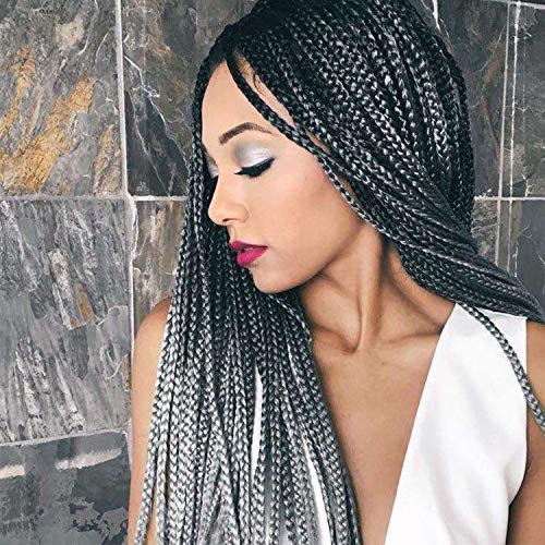 7 Packs Box Braids Crochet Braids Hair Extensions 18'' Ombre Gray Color Synthetic Braiding Hair Jumbo Kanekalon (18 Inch, 1B/Gray)