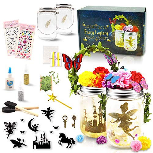 Fairy Lantern Craft Kits for Girls Kids DIY Fairy Jars Craft Make Own Arts and Crafts Jar for Kids Night Light Kit Children Halloween Christmas Birthday Craft Gift for Girls Boys Ages 4-12