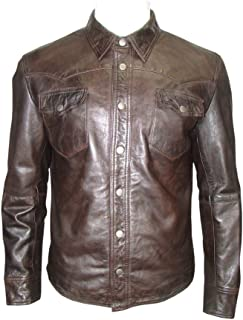 Infinity Men's Brown Retro Trucker Style Casual Leather Shirt Style Denim Jacket