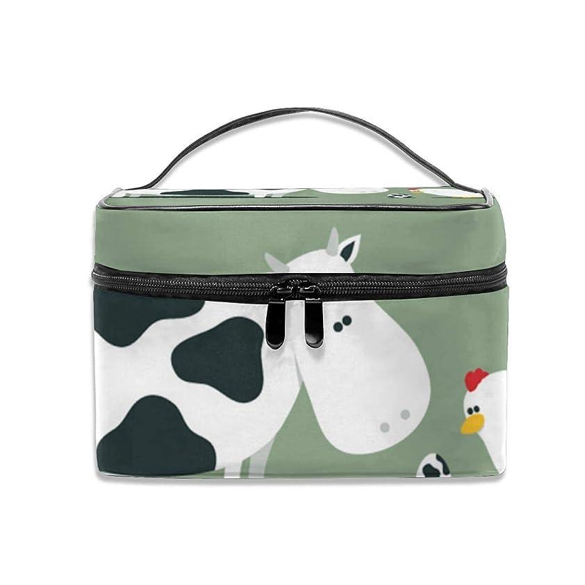 巨人ぜいたく東化粧ポーチ牛 鶏 メイクポーチ コスメバッグ 収納 雑貨大容量 小物入れ 旅行用