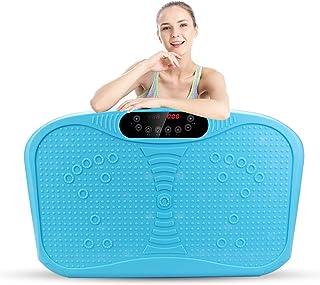 JIANGJIE Fitness Vibration Platform Wholebody Massager Máquina de vibración para Todo el Cuerpo Crazy Fit Placa de vibración con Control Remoto y Bandas de Resistencia Azul
