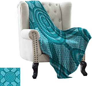 RenteriaDecor Teal Decor,Plush Throw Blanket Abstract Aboriginal Dot Painting Ancient Native Ethnic Cultural Art in Australia 50