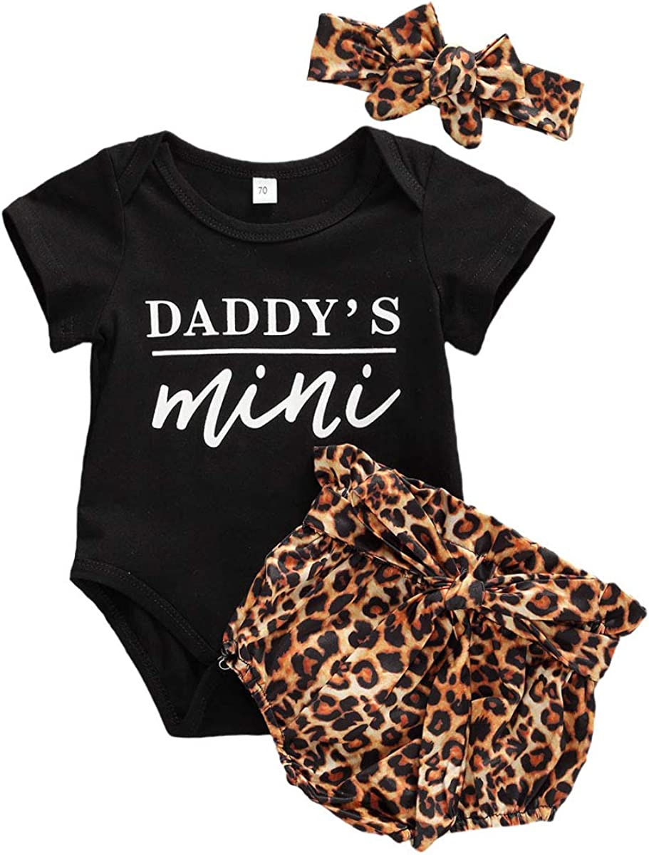 3PCS Newborn Baby Girl Mama's Mini Printed Romper Jumpsuit Bodysuit +Leopard Pants Shorts+Headband Outfit Set
