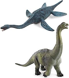 2 Pack Large Dinosaur Figure Toys Brachiosaurus & Plesiosaur, Jumbo Realistic Dinosaur Playset Party Favors Collection Gif...