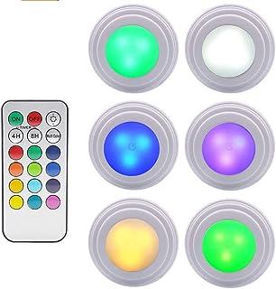 GreeSuit Luces LED para Debajo del gabinete Control Remoto inalámbrico Brillo Luz LED Pilas para gabinete Ajustable Luces...