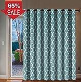 Thermal Insulated Room Divider/Quatrefoil Pattern Blackout Patio Curtain, Antique Grommet Sliding Door Panel