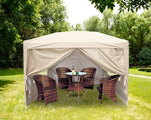 Greenbay 3m x 3m Pop-Up Garden Pop Up Gazebo with 4 x Weight-Bags, 4 x Side Panels and Carry Case - Choice of Colours (Beige)