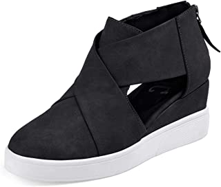 Huiyuzhi Womens Wedges Fashion Sneakers Strap High Top Closed Toe Platform Shoes with Zipper