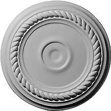 ميدالية سقف إسكندرية صغيرة من Ekena Millwork CM07AL ، 7 7/8 بوصة OD × 3/4 بوصة P (تناسب المظلات حتى 4 5/8 بوصة)، معدة المصنع