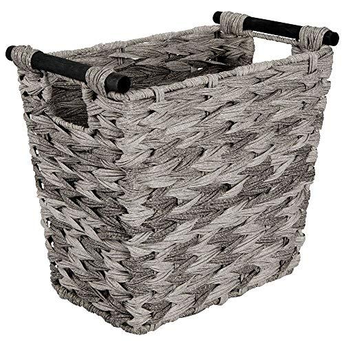 mDesign rechteckiger Papierkorb – kompakter Aufbewahrungskorb für Bad, Schlafzimmer oder Büro – moderner Flechtkorb mit 4,5l Fassungsvermögen – grau/schwarz