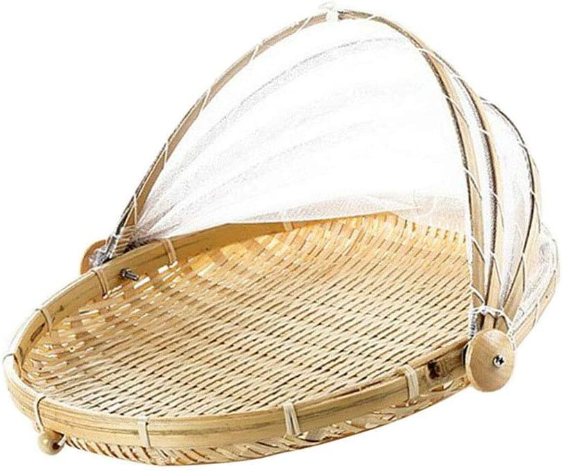 VEAREAR Picnic Baskets,2 Person Picnic Hamper, Bamboo Tent Basket Hand Woven Tray Anti Bug Food Fruit Container Net Mesh Cover, Picnic Blanket for Family Outdoor Camping Part Round L