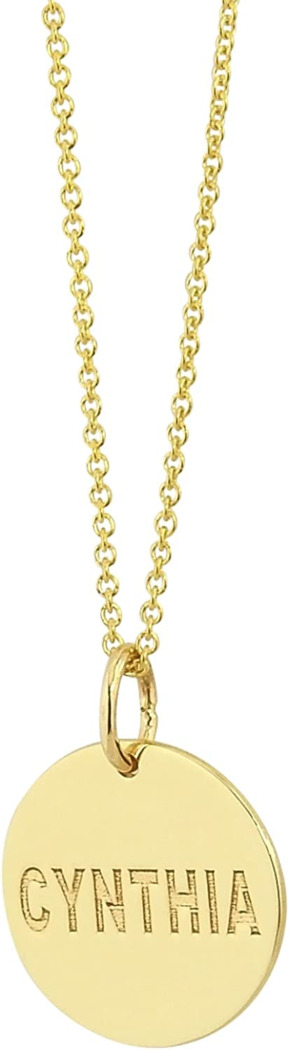Details about  /Sterling Silver Gold-Plated Engravable Girl Polished Disc Charm Pendant MSRP $43