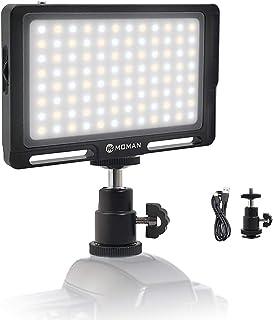 撮影照明ライト MOMAN 96LEDビデオライト 二色温度 CRI96 +高演色性 ポケットサイズ 小型 軽量 OLEDスクリーン 調光対応 無段階調整 日本語説明書 テント 車中泊に適用 停電対策 スタジオ照明に改造可能