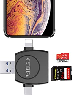 WRX SD カードリーダー 4in1 3.0 マルチカードリーダー iPhone Android Type-C USB 全対応 小型軽量 変換アダプタ四合一 多機能 SD/TFカードリーダー 写真 動画 音楽 直接 高速転送【正規品18ヶ月保証】 (iPhone SD カードリーダー)