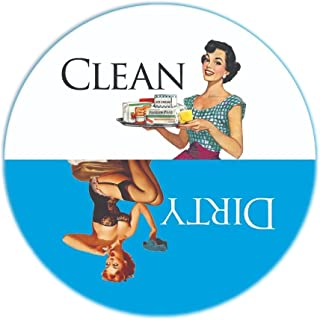 """Aloha Girls Gifts Big 3.5"""" Dirty Clean Dishwasher Magnet Ends Common Kitchen Problem. Adheres to Any Surface. Blue and White."""