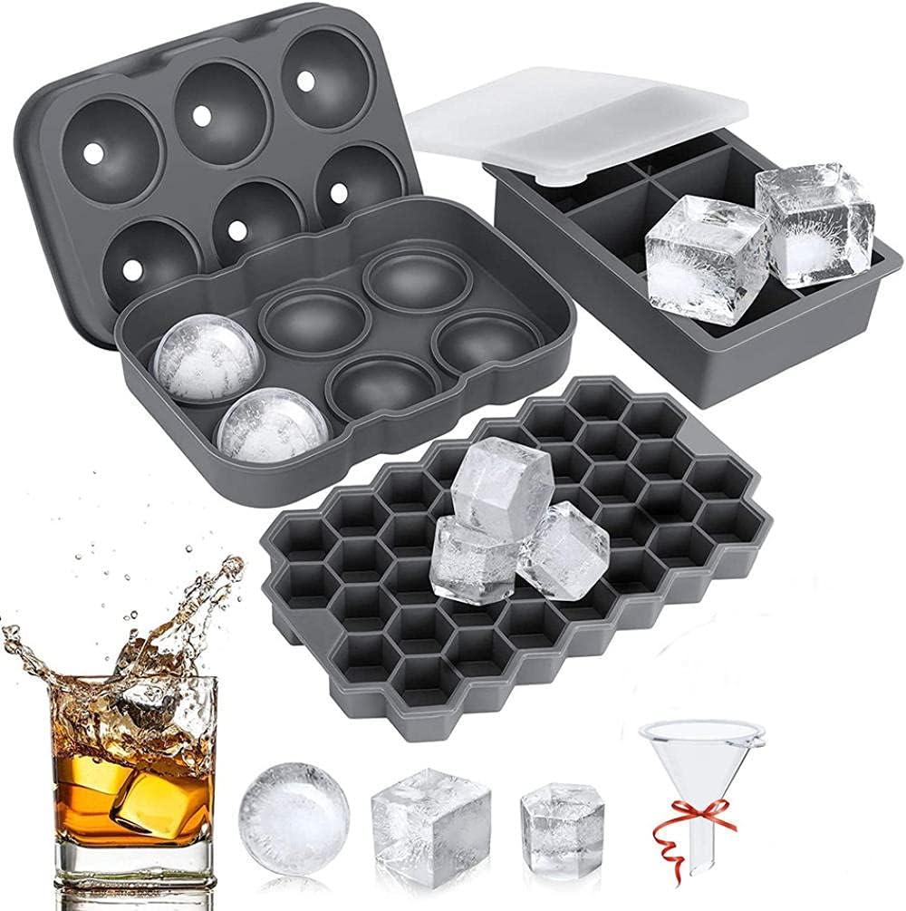 Bandejas de hielo silicona grande (juego de 3),moldes para cubitos de hielo con tapa,Bandejas de hielo,para whisky, cócteles, jugos, reutilizables sin BPA,gris,(círculo + cubitos)