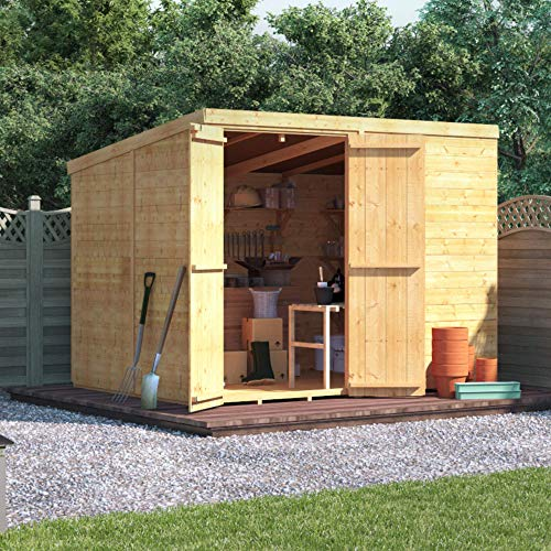 BillyOh Master Tongue & Groove Garden Shed with Floor | Windowless Wooden Shed with Pent Roof & Felt Included | Garden Storage Shed- 4 (8x6)