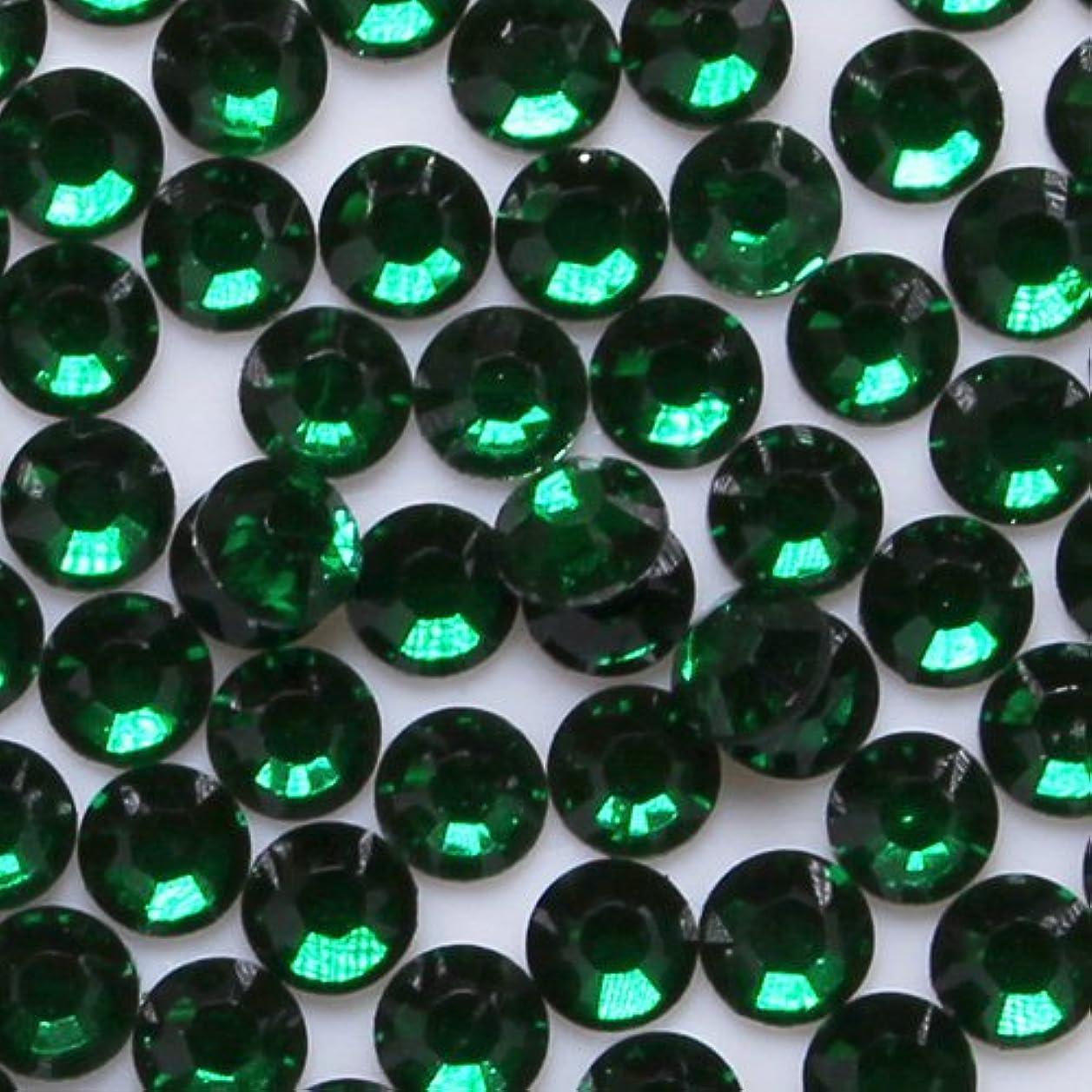 アジア北西エレクトロニック高品質 アクリルストーン ラインストーン ラウンドフラット 約1000粒入り 4mm エメラルド
