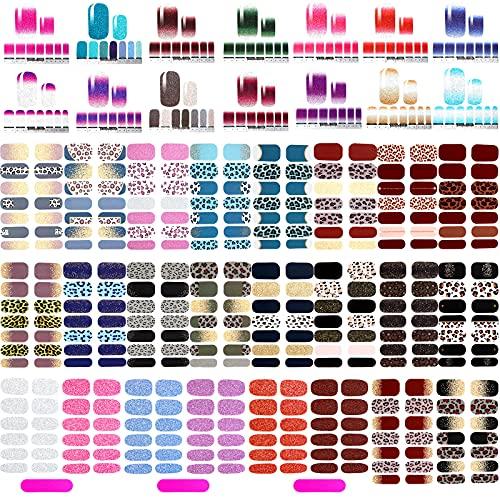 520 Stücke Vollabdeckung Nagellack Aufkleber Selbstklebende Nagelkunst Aufkleber Abziehbilder Nagellack Streifen mit Nagelfeilen für Frauen Mädchen DIY Nagelkunst (Glitzer Stil)