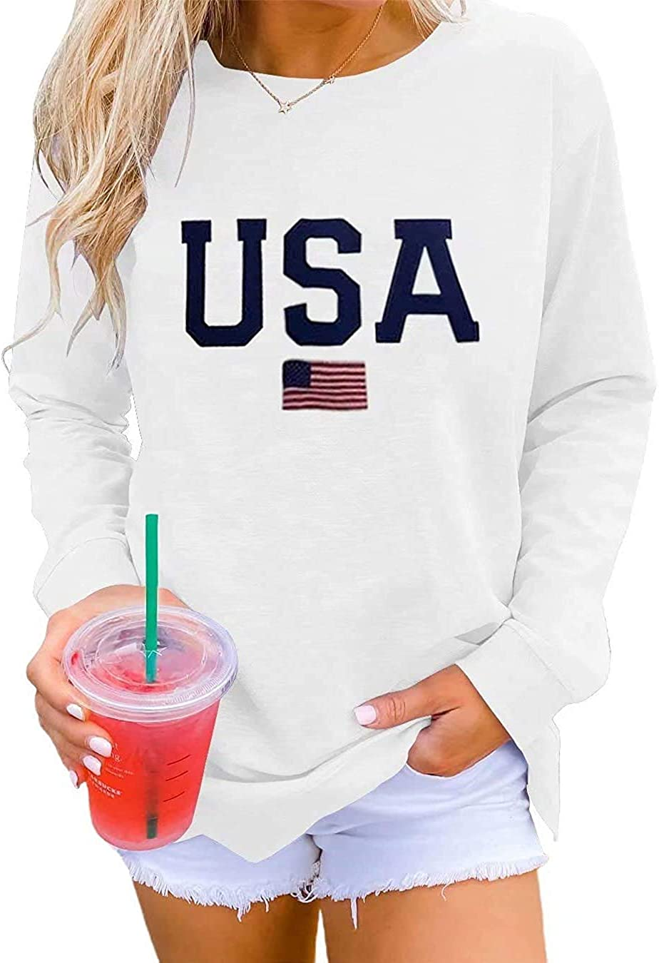 Dressmine Womens Casual Long Sleeve Graphic Tee Shirts Crew Neck Sweatshirts Pullover Tops for Women