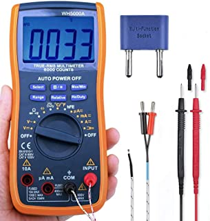 Firing Digital Multimeter Tester with TRMS 6000 Auto Raging Measures Voltage Tester,Current, Resistance, Continuity, Frequency,Transistors, Temperature,Diodes