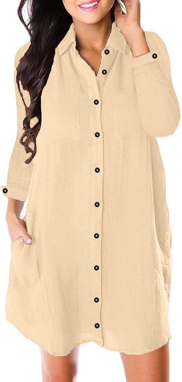 Arainlo Women's Button Down Dress Long Sleeve Casual Loose Swing Tunic Dress Pocket
