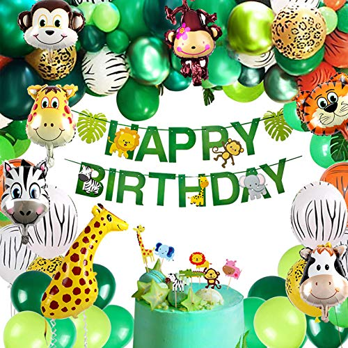 vamei 149PCS Fiesta de cumpleaños Decoracion Selva Niño-Feliz cumpleaños Aarticulos de Fiesta Palma Globos de Latex y Safari Bosque Animal Globos para Baby Shower Decoración
