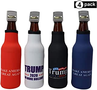 Trump 2020 Insulated Beer Sleeve - Great MAGA Gift, Bottle Insulator Cooler with Zipper and Built-In Removable Bottle Opener, Perfect Donald Trump Stocking Stuffer Christmas Present (Trump 4-Pack)