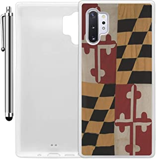 Custom Case Compatible with Galaxy Note 10 Plus (Vintage Rustic Maryland State Flag) Edge-to-Edge Rubber White Cover Ultra Slim | Lightweight | Includes Stylus Pen by Innosub