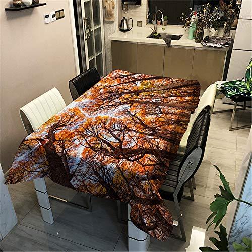Manteles de Mesa Impresión 3D Bosque Maderas Mantel, Morbuy Rectangular Impermeable Antimanchas Lavable Manteles para Cocina o Salón Comedor Decoración del Hogar (140x180cm,Rojo 6)