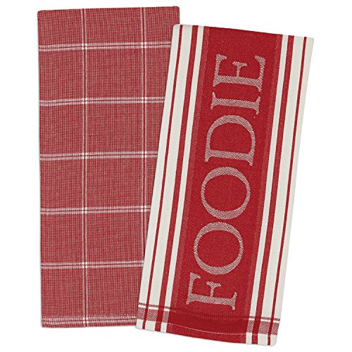 Oversized Dish Clothes Red and White Kitchen Towels