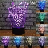 Lámpara redonda abstracta de frutas novedad 3D LED lámpara de mesa de luz nocturna lámpara de mesa táctil regalo colorido fiesta de cumpleaños dormitorio 10 colores