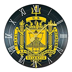 BLSYP Us Naval Academy Logo Wall Clock Wooden Rustic Country Clock Silent Wooden Planks Nautical Theme Clocks 9.84 Inch Battery for Home
