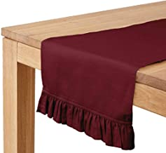 Vargottam Maroon Home Décor Cotton Slub Fabric Frill Table Runner Table Decor-14 x 72 Inch