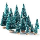 KUUQA 36Pcs Mini Sisal Snow Frost Árboles de Navidad Cepillo de Botella Árboles Plásticos Adornos de Nieve de Invierno Árboles de Mesa con Letras de Feliz Navidad para Fiesta de Navidad Fiesta