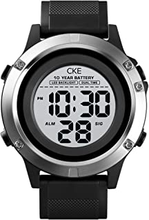 Men's Digital Sports Watch LED Screen Large Face Militray Electronic Wristwatch with 10 Year Standby Waterproof Stopwatch Alarm Back Light Outdoor Watche