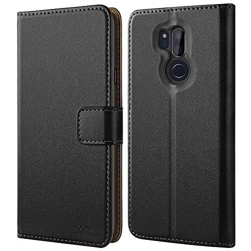HOOMIL Handyhülle für LG G7 ThinQ Hülle, Premium PU Leder Flip Schutzhülle für LG G7 ThinQ Tasche, Schwarz