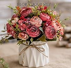 TopSZ Artificial Flowers in Ceramic Vase Sturdy Bottom – Arrangement Wedding Home..