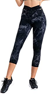 Yoga Clothes Tie-dye Cross High Waist Women Nude Seven-point Leggings Fitness Pants for Yoga Pilates Jogging Running Cycli...
