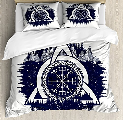 Ambesonne Blue and White Duvet Cover Set, Celtic Knot with Tridents Forest and Mountains Scandinavian Culture, Decorative 3 Piece Bedding Set with 2 Pillow Shams, King Size, Dark Blue