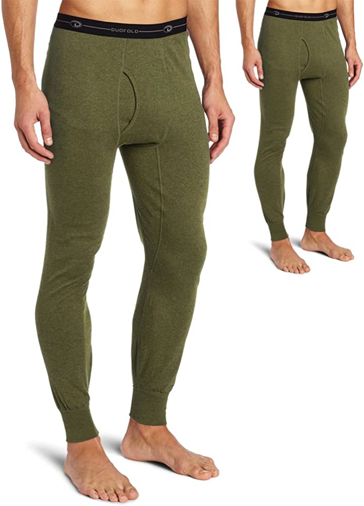 Duofold KMO3 Men's Mid Weight Double Layer Thermal Pant Olive Heather-2 Pack