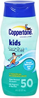 Coppertone Kids Tear Free with Zinc Oxide Broad Spectrum SPF 50, 8-Ounce Bottles (Pack of 3)