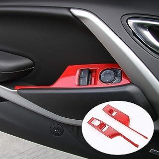 CheroCar for Camaro Interior Decoration Accessories Window Switch Button Shift Panel Trim Cover Decor for Chevrolet Camaro 2017-2020, Red, 2PACK