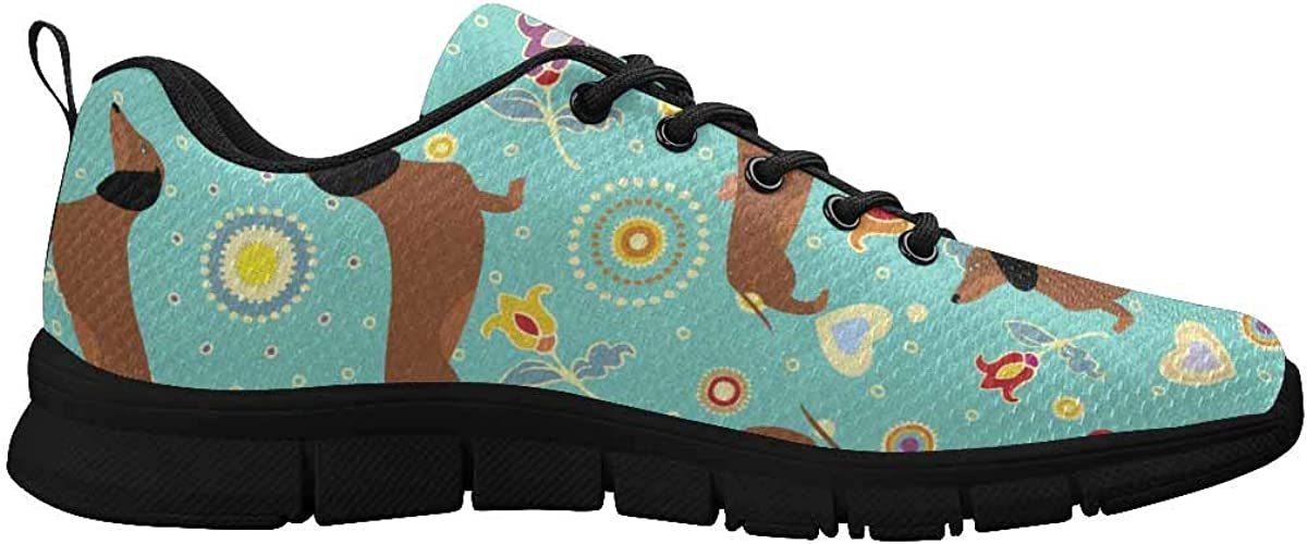 InterestPrint Cute Dachshunds Women's Athletic Walking Shoes Breathe Comfort Mesh