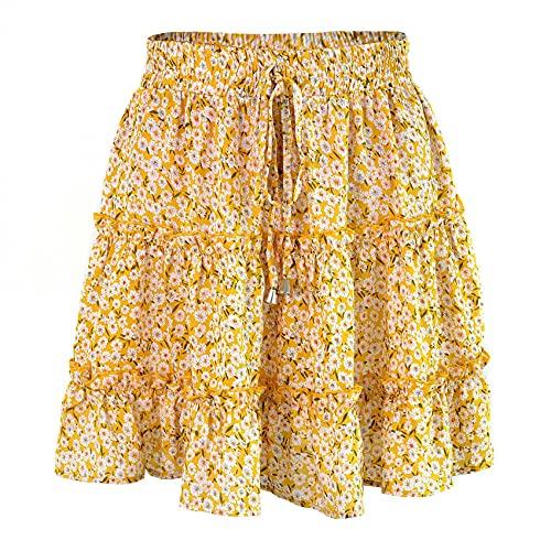 Verano Estampado Floral Boho Sexy Mini Falda Mujeres Vendaje Moda Cintura Alta Volantes Falda Corta Mujeres Faldas Plisadas